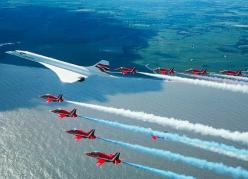British Airline's Concorde with the Red Arrows on final flight into London Heathrow Airport: Flight, Red Arrows, Aviation, Airplane, Aircraft, British Airways, Photo, Jet