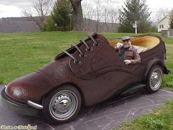 Brown laced up shoe car..hahaha. Some how I think it would be difficult to see while driving. But cute idea none the less.: Shoes, Stuff, Cars, Vehicle, Shoe Car, Things, Photo