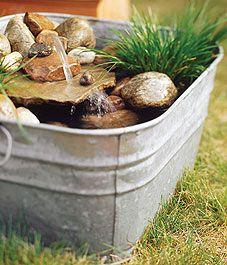 Build a potted water garden-out of an old tub:): Water Fountain, Garden Ideas, Waterfeatures, Water Gardens, Garden Outdoor, Water Features, Garden Oasis, Potted Pond