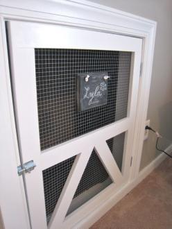 Built-in dog kennel. This is the greatest idea ever. Just have to wait until we move into a place where we can do whatever we want: Doggie Door, Dogs, House Ideas, Built Ins, Dog Crates, Chalkboard, Dog Kennels, Built In Dog Crate