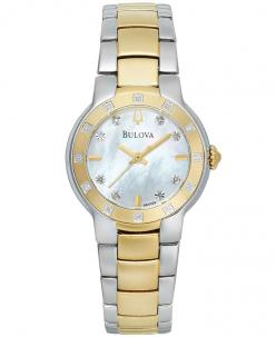 Bulova Women's Diamond Accent Two-Tone Stainless Steel Bracelet Watch 28mm 98R168: Bracelet Watch, Watches Online, Stainless Steel Bracelet, Two Tone, Watch 28Mm