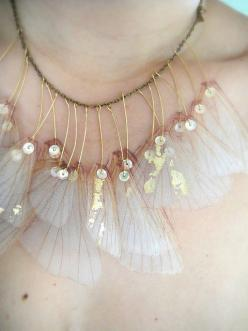 butterfly wings: Faerie Wing, Inspiration, Butterflies, Jewelry, Necklaces, Butterfly Wings, Organza Necklace, Fairy Wings