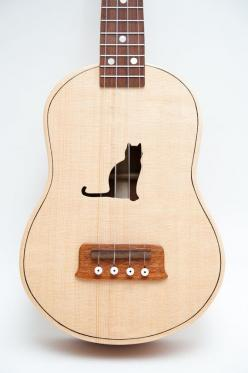 Carved Cat Ukulele: | Community Post: 20 Cat-Themed Items You Need For Your House Right Meow: Sound Hole, Cats, Music, Cat Ukulele, Celentano Woodworks, Customizable Sound, Guitar, Ukulele Customizable