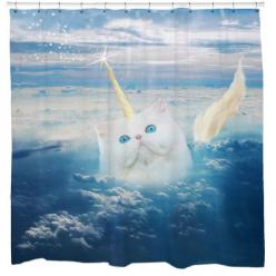 Caticorn Cat Unicorn Shower Curtain Printed in USA by sharpshirter: Caticorn Shower, Showers, Cats, Curtain Printed, Unicorn Shower, Caticorn Cat, Shower Curtains, Unicorns, Cat Unicorn