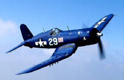 Chance Vought F4U Corsair. Nicknamed by somebody 'Whistling Death' for the high pitched shriek that came from its 1800 hp Prat & Whitney engine as it dove in tor the kill. With the most powerful engine of any WWII fighter, the Corsair was the