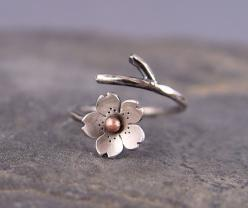 Cherry Blossom Branch Adjustable Ring in Silver, $39.00, via Etsy.: Flower Rings, Blossom Ring, Style, Adjustable Ring, Branch Ring, Cherry Blossoms
