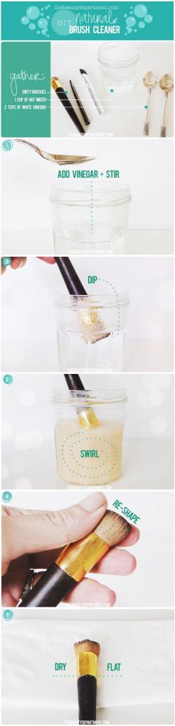 Clean your beauty brushes with this natural DIY brush cleaner: Diy Natural, Beauty Tips, Makeup Tips, Makeup Brushes, Makeupbrushes, Makeup Brush Cleaner, Diy Makeup