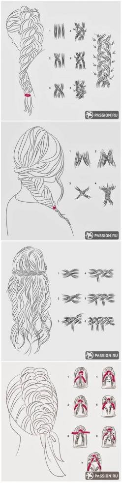 #coiffure - tuto desssin pour réaliser des tresses: Braids Tutorial, Hair Tutorial, Hair Style, Elsa Braid