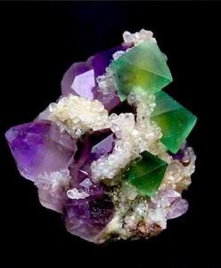 Color is over saturated but what a beautiful combo, Chinese Amethyst and Fluorite <3: Gemstones, Amethysts, Gems Minerals, Crystals Gems, Gem Stones, Rocks Gems, Rocks Minerals, Chinese Amethyst