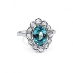 Colored Stone Engagement Ring: Genista Blue Zircon and Diamond Ring, $2,685, brilliantearth.com: Brilliant Earth, Antique Engagement Rings, Antique Rings, Gemstone Engagement Rings, Genista Ring, Blue Zircon, Earth Rings, Jewelry, Dream Wedding