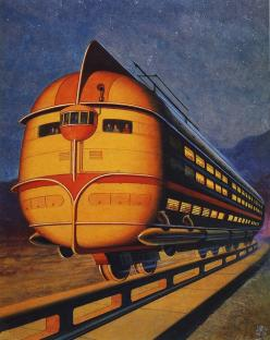 Concept Train / Monorail / Vintage Past / Retro Futurism / Future Past / Illustration /: Retrofuturism, Photos, Illustration, Art, Retro Futurism, Retro Future, 1943
