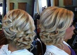 Coral I think we could do this with pin curls instead of loose curls on the side!! very pretty: Hair Ideas, Wedding Hair, Hairstyles, Bridesmaid Hair, Hair Styles, Wedding Ideas, Updos, Side Bun