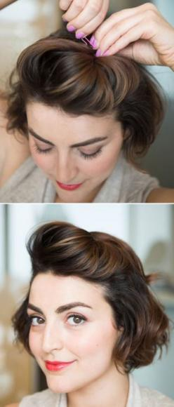 Create a pompadour by teasing a section of hair from temple to temple, and then pushing it against where you normally part your hair to increase lift.   Creating a pompadour on short hair can be tough, but by twisting the hair you've gathered and push