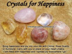 "Crystal Guidance: Crystal Tips and Prescriptions - Happiness and Joy. Top Recommended Crystals: Citrine, Rose Quartz, or Sunstone.  Additional Crystal Recommendations: Carnelian, Chrysoprase, or Watermelon Tourmaline. Affirmation: ""I am filled with ha"