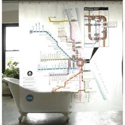 CTA Map Shower Curtain: Showers, Map Shower, Maps, Bathroom Ideas, Chicago Transit, Shower Curtains, Subway Map