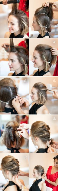 Cute braid for short hair: Cute Short Updo, Hairstyles, French Twists, Hair Styles, Short Hair Updo, Updos, Short Hair Do, Short Hair Braid