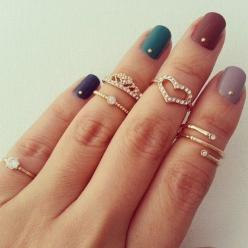 Cute jewelry and nails!: Fashion, Midi Rings, Nail Polish, Knuckle Rings, Jewelry, Nail Design, Nails, Accessories, Nail Art