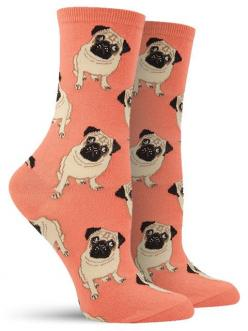 D'awwwww!!! Look at the purdy liddle pug! These pug socks are available in peach, black and blue backgrounds.: Pug Socks, Pugs Dogs, Peach, Liddle Pug, Pug Dogs, Products