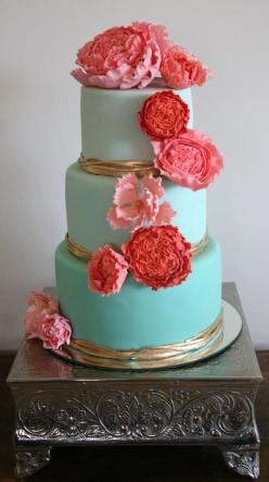 Daily Wedding Cake Inspiration (NEW!). To see more: http://www.modwedding.com/2014/06/22/daily-wedding-cake-inspiration-2/ #wedding #weddings #wedding_cake Featured Wedding Cake: Victoria Zoch: Teal And Coral Wedding Idea, Blue Wedding Cake, Coral Wedding