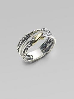 David Yurman Sterling Silver & 18K Yellow Gold Ring....I have the bracelet and I need this ring.: Davidyurman, David Yurman Ring, Simple Silver Bracelet, David Yurman Crossover Ring, Anniversary Gift, David Yurman Bracelet, Knot