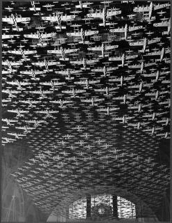 Delano, Jack, photographer.    Chicago, Illinois. Model airplanes decorate the ceiling of the train concourses at Union Station    1943 Feb.: Models, Airplanes Decorate, Model Airplanes, Train Concourses, Ceiling, Jack O'Connell, Jack Delano, Union St