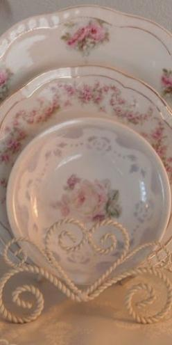 Delicate pink rose china  lovely heart plate holder: Vintage Dishes, Floral Plates, Pretty Dishes, Shabby Chic, Pink Rose, Tea Cups, China