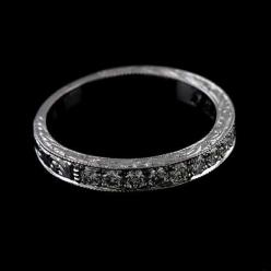 Diamond Pave Set Engraved Milgrain 14k White Gold Half Way Wedding Band Ring on Etsy, $729.00: Gold Half, Engraved Milgrain, 14K White, Wedding Band Rings, Wedding Bands