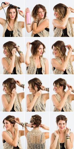DIY a twisted updo with this tutorial.: Short Hair Updo, Bob Updo, Hairstyle, Hair Style, Short Hair Do, Short Hair Tutorial, Updos For Bob