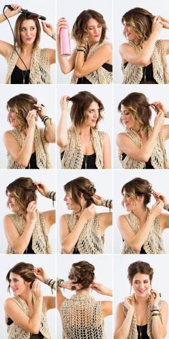 DIY a twisted updo with this tutorial.: Short Hair Updo, Hairstyle, Bob Updo, Hair Style, Short Hair Do, Short Hair Tutorial, Updos For Bob