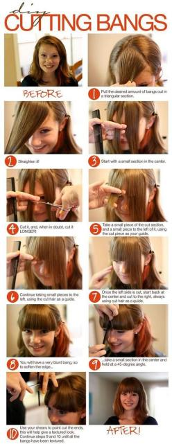 diy bangs cut - I will never have the courage to do this. I've tried trimming my bangs before... but I get too scissor happy.: Hairstyles, Hair Styles, Bangs Cut, Hair Cut, Cutting Bangs, Haircut, Cut Bangs, Diy Cutting