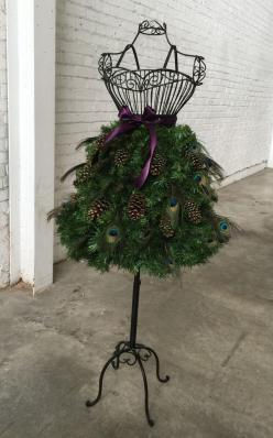DIY Tutorial for a Christmas Tree on a Wire Dress Form – Mannequin Madness: Holiday, Mannequin Christmas Tree, Mannequin Madness, Christmas Dressform, Christmas Dress Form, Dress Form Christmas Tree, Christmas Trees, Peacock