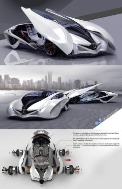 ♂ Dolphin concept car is the third winner of Michelin design challenge 2013, it reflects the principle of sporty, scientific and futuristic. The body structure is constructed from full transparent glass and carbon fiber, light weight design to ensure secu