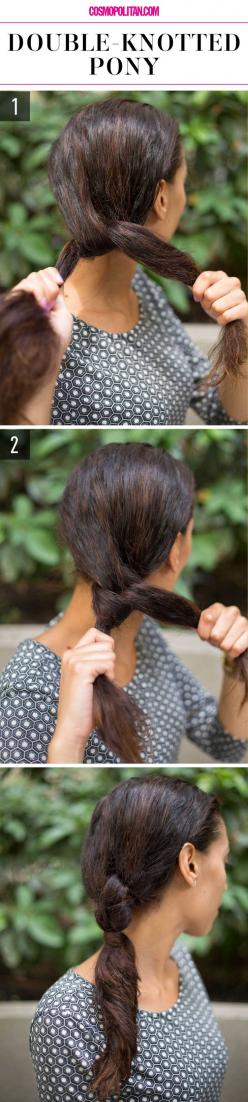 DOUBLE-KNOTTED PONY: Create this updated ponytail style by separating hair into two sections and then tying them into a knot. Repeat the same step and then secure the ponytail with a hair tie under the second knot. To create a more polished look, wrap a p