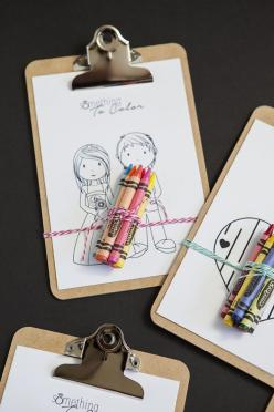 Download our 6 free coloring sheets and make these darling mini-clipboard favors for all the kids attending your wedding!: Wedding Favors, Wedding Ideas, Wedding Coloring Book, Weddings, Child Table, Kid Table, Kids Table, Marriage