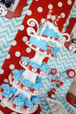 Dr. Seuss Thing 1 and Thing 2 1st Birthday Party for Twins - Twin - Red and Aqua Blue - Chevron & Polka Dots - Candy Sweets Dessert Table - Buffet - Ideas - Cake and Cupcakes: Dr Seuss Baby Shower Cake, Dr Seuss Birthday Cake, 1St Birthday, Party Idea