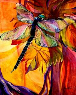 Dragonfly: Dragon Flies, Karen O'Neil, Color, Art, Vineyard Fantasy, Dragonfly, Painting, Dragonflies