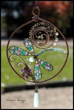 dragonfly pretty: Wire Dragonfly, Craft, Idea, Sea Foam, Chalcedony Drop, Multi Gemstone, Sun Catchers