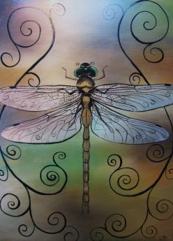 Dragonfly print 12x16.  This is the work of a local Belleview, FL artist!  Beautiful stuff.: Artistic Dragonfly, Dragonfly S, Dragonfly Print, Animal, Dragonflies