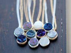Druzy Bezel Pendant Necklace Sterling Silver by SaressaDesigns, $42.00: Gemstone Fashion, Quartz Gemstone, Pendants, Sterling Silver, Rose Gold