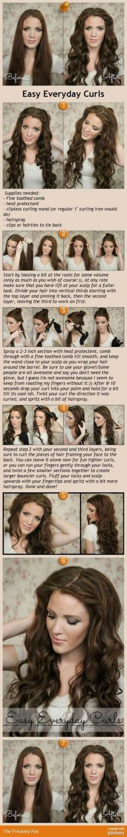Easy Everyday Curls tutorial. I love this for my long hair.: Hairstyling Makeup Nails, Wedding Hair, Curls Hair, Hairstyles Haircuts, Curled Hair Styles, Curling Hair Tutorials, Hairstyles Cut Colour, Curling Iron