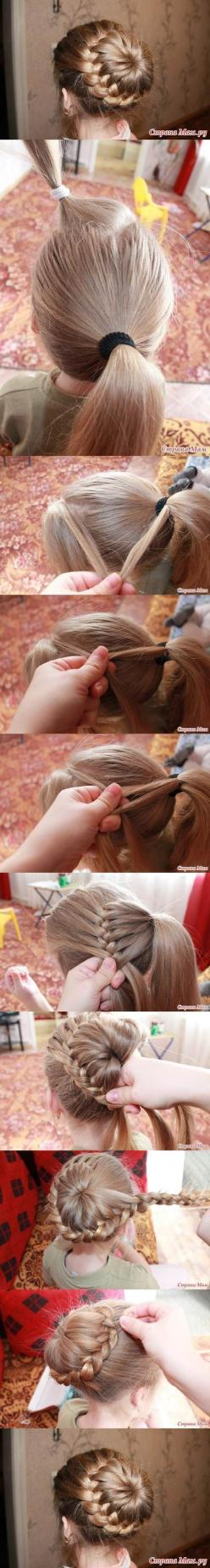 Easy french braid bun... I would love for my to do this, but I dont think it ever would!: Hair Do, Hair Style, Braided Bun, Updo