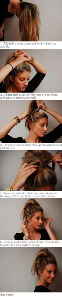 easy: Hair Ideas, Messy Ponytail, Hairstyles, Messy Hair, Hair Styles, Makeup, Messy Buns, Updo