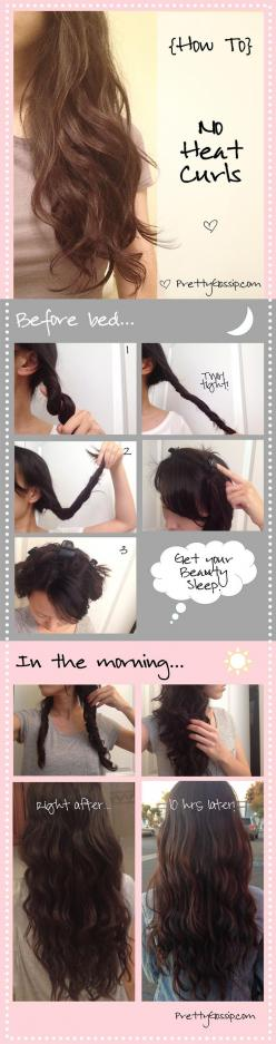 easy no heat beach waves.: Hair Ideas, Hairstyles, Hair Styles, Hairdos, No Heat Waves, Hair Tutorial, Hair Beauty, Heat Curls, No Heat Curl