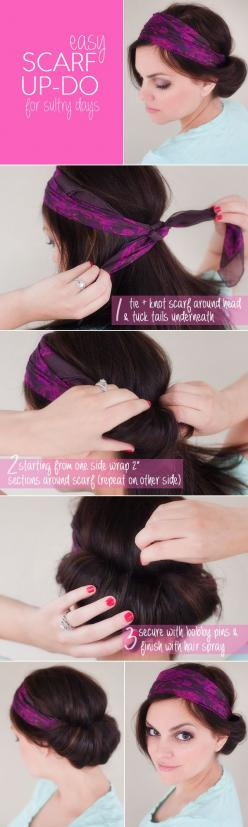 easy scarf updo for summer | www.prettyplainjanes.com: Easy Bandana Hairstyles, Hair Styles, Inspirational Hairstyles, Hairstyles Health, Hairstyle Tutorials, Pirate Hairstyles, Hairstyle To Hide Roots, No Heat Hairstyles, Hairstyles To Hide Roots