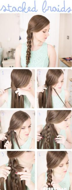easy second day hair style: Hair Ideas, 3D Braid, Hairstyles, Hair Tutorials, Hair Styles, Beauty, Stackedbraids