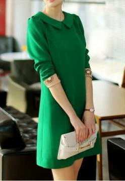 emerald green dress with flat collar and beige cuffs: Emerald Green Dresses, Style, Green Dress, Beautiful Green, Emmy Chic, Chic Green, Dresses Clothes Etc, Shades Of Green