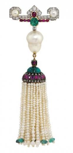 Emerald, ruby, diamond, pearl and gold tassel brooch, circa 1920's, by Cartier.: Baroque Shaped, Tasselled Jewelry, Diamond Set Bar, Art Deco, Inverted Baroque