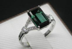 Engagement Ring   2 Carat Green Tourmaline Ring by stevejewelry, $699.00 What a great alternative to emerald.  Green tourmaline is actually just as durable/hard as emerald: a 7.0-7.5 on the Mohs scale.: Green Tourmaline, 14K White, Carat Green, 2 Carat, E