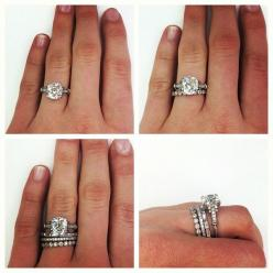 Engagement ring, wedding band, and a band for each child. Create your own stack. Would be great with birthstone rings for each child!: Wedding Idea, Dream Ring, Vintage Wedding Band, Wedding Bands, Stackable Wedding Ring, Stacked Wedding Ring, Engagement