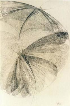 Erika Giovanna Klien(Italy/Austria/America, 1900-1957)  Libellen  1936  Works on Paper (Drawings, Watercolors etc.): Watercolor, 1936 Works, Dragonfly, Libellen 1936, Paper Drawings, Dragonflies